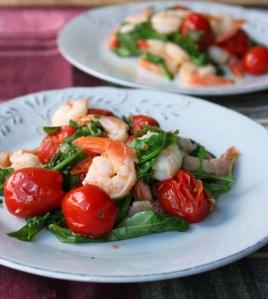 Sauteed Shrimp with Arugula and Tomatoes1