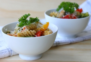 Tricolour Pasta Primavera with Roasted Vegetables and Parmesan